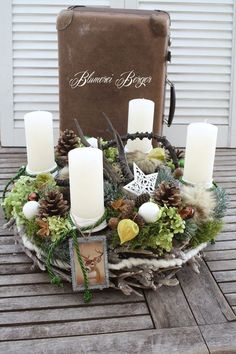 """Advent wreath - :::: Advent wreath """"Forest Christmas"""" :::: - a designer piece by . Christmas Advent Wreath, Christmas Candle Decorations, Christmas Home, Christmas Holidays, Christmas Crafts, Vintage Sheet Music, Scandinavian Christmas, All Things Christmas, Dried Flowers"""