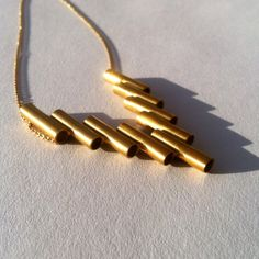 Gold Pipes Necklace High Quality 18K Gold-Plated by SchadelJewelry