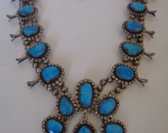 Vintage Navajo Squash Blossom Necklace Sterling Silver and Turquoise Handmade, Unsigned