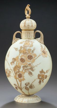 Mt Washington Crown Milano Vase with Earth Tone and Gold Floral Dcoration - 13 inch HOA Pots, Mount Washington, Antique Glassware, Glass Company, Vintage Pottery, Vases Decor, Glass Jars, Perfume Bottles, Ceramics