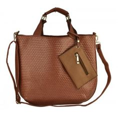 WENDY Weaved Shopper Style Handbag with Strap On Coin Purse