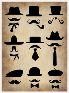 Hats Glasses and Mustaches Print by NaxArt at Art.com