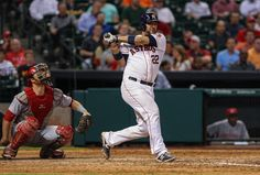 CrowdCam Hot Shot: Houston Astros catcher Carlos Corporan bats during the ninth inning against the Cincinnati Reds at Minute Maid Park. Photo by Troy Taormina