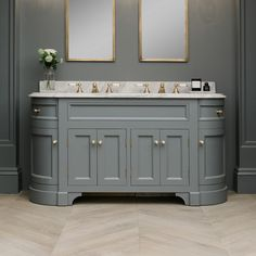 Double Vanity Unit includes a base unit painted in Moher with a Carrara marble top. At Porter every bathroom vanity is bespoke. Double Vanity Unit, Vanity Units, Neptune Bathroom, Art Deco Wall Lights, Brass Tap, Family Bathroom, Bathroom Ideas, Basin, Vanities