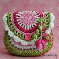 Garden scene collection - because I love flowers. They make me happy. You little girls will love it and will look so cute wearing this gentle purse:-) This pattern is written in standard American (US) terms, in the English language, with step-by-step instruction and plenty pictures for