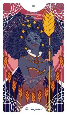 """III - The Empress:Finances: This card shows an excellent time to make investments, follow your instincts about them. Money should be flowing very well. Be sure to """"keep the flow going"""" by putting back out a little of what you have, to a person or cause that is important to you. Share your abundance. Source: an art print by Trungles/psychic-revelation tarot card meanings."""