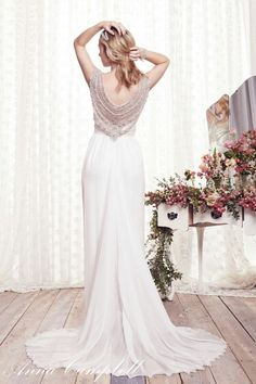 """""""Gisele"""" (Slimline Silk Chiffon) -- (Back View) by Anna Campbell, Forever Entwined Bridal Collection....."""