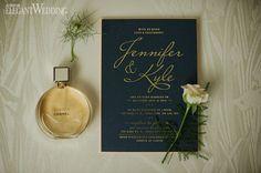 Blue and gold wedding invitation, wedding invitations, wedding stationery, Chanel Chance perfume WHIMSICAL SUMMER WEDDING IN ONTARIO www.elegantwedding.ca