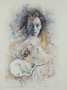 Figure of Woman with Greyhound, 1988 - Renzo Vespignani (1924–2001)