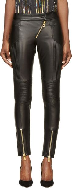 Fausto Puglisi - Black Leather Ribbed Biker Trousers