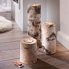Birkenholz-Kerzenhalter, 3er-Set Urgemütlich und hochaktuell: die Kerzenständer aus Birken-Stammholz. Jeder einzigartig in Färbung und Struktur.