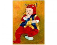 baby art acrylic painting~ A Kid Wearing Two Cultural Traditions by JingfenHwu, #jingfenhwu