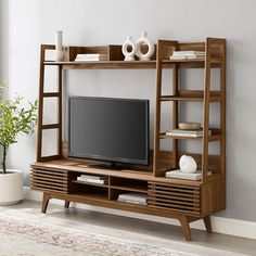 Mid Century Modern Living Room, Mid Century Modern Decor, Mid Century Modern Bookcase, Mid Century Modern Furniture, Tv Stand And Entertainment Center, Entertainment Units, Ruang Tv, Living Room Tv, Decoration