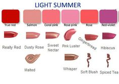 Mary Kay lip colors for light summer