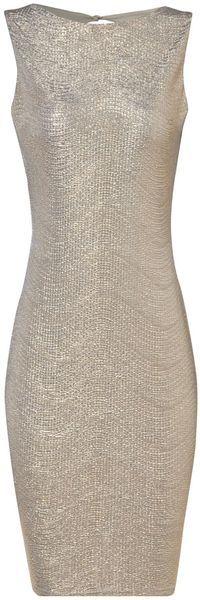 Jane Norman Metallic Crinkle Dress in Silver (gold)