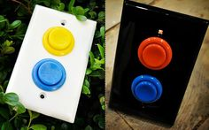 arcade button light switches - so fun for the boys room!