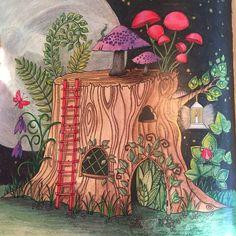 Koh-i-noor, generic color pencil and gel pens #enchantedforest #johannabasford