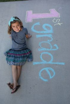 First day of school chalk photo. Photo ideas from Blue Cricket