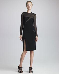 ShopStyle: Emilio Pucci Mesh-Slash Crepe Dress, Black