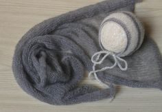 Newborn photo prop set Mohair wrap and matching hand knit mohair bonnet Newborn baby wrap Pixie hat Baby blanket Gray Gray on Etsy, $39.00
