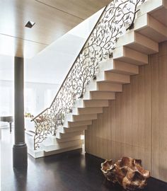 artist bill sullivan contributed to the design of this cast-bronze railing. as seen in the book Traditional Now: Interiors by David Kleinberg.