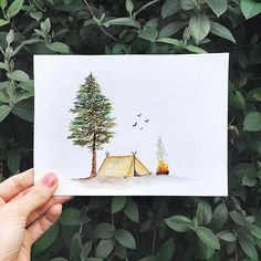 (@rosies.sketchbook) A camp fire doodle, I had seen a simple doodle like this before and decided to make one myself with watercolours