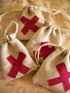 X Marks the Spot burlap treat bags