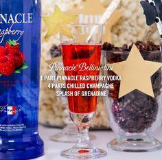 And the award goes to the #Pinnacle Bellini-tini:   1 part Pinnacle Original Vodka  4 parts chilled champagne  Splash of grenadine   #PinnacleVodka #RedCarpetReady #Cocktails #Vodka