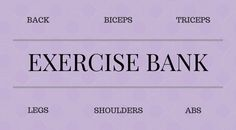 All right peeps, so here is a handy dandy exercise bank. A nice little resource you can take a look at when you want to switch out exercises in your program to keep from getting bored. Keep in mind… Biceps And Triceps, Back And Biceps, Triceps Workout, Bikini Prep, Strength Training Workouts, Getting Bored, Keep In Mind, Dandy, Abs