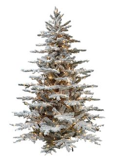 Flocked Layered Lucerne - Branch View    So perfect, you'll think you're outside with this flocked Christmas tree.