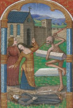 Davis, University of California, Davis, Shields Library, Special Collections, UCD BX2080 A21497, detail of f. 70r (vigil of the Office of the Dead, possibly retouched). Book of Hours, use of Rome. 1475-1499.