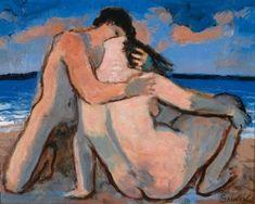 Jean SOUVERBIE (1891-1981) LE BAISER, 1980 Huile sur toile signée en bas à dr