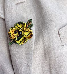 Lapel Flower Pin Yellow African Cotton Kanzashi Custom Mens Lapel Pin Boutonniere by exquisitelapel on Etsy https://www.etsy.com/listing/221756991/lapel-flower-pin-yellow-african-cotton