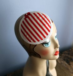 Red and White Candy Striper Fascinator with Bow!