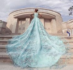 Statement-making blue gown from Aidem Wedding with stunning hand-crafted details and a fashion forward silhouette! Fairytale Gown, Amazing Wedding Dress, Blue Gown, Bridal Wedding Dresses, Beautiful Gowns, Beautiful Things, Pretty Dresses, Evening Gowns, Marie
