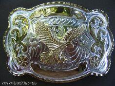 Big Western Cowboy Rodeo Silver Gold Eagle Belt Buckle