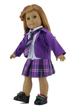 school doll clothes   Girl Doll Clothes:Purple School Uniform Outfit for 18'' doll clothes ...