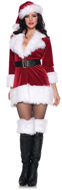 Our women's Plus Size Secret Santa Costume includes a plush red jacket-style mini dress featuring thick white faux fur trim, black belt with gold buckle, matching furry white boot cuffs and a plush red stocking cap with white faux fur trim and pom-pom tip. Bring the spirit of Christmas to the streets as a bell of the North Pole ball. Turn heads this holiday season as you jingle all the way in our sexy Plus Size Secret Santa Costume for full figured women.
