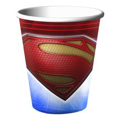 Superman-Birthday-Party-Supplies-Cups                                                                                                                                                     More Superman Birthday Party, Birthday Cup, Party Supply Store, Party Stores, Best Superhero, Superhero Party, Coupons By Mail, Superman Man Of Steel, Minion Party