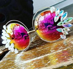 Handmade beautiful oversized sunnies adorned with AB rhinestones that give these glasses an ultra Glam look! Perfect for summer festivals and getaways! This item is ready to ship.  We do ship this item internationally