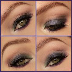 Blue, brown, green, and purple eyeshadow colors make up this smokey look. Wear it for a fun night out. See here for the products used.