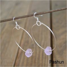 Seashell Jewelry ... Simple Pink Glass Bead Hoop by Pashun on Etsy