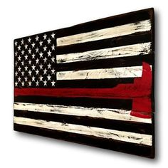 Hand painted on reclaimed wood. The pictured sign is approximately in size. This flag is a variation of our Thin Red Line Flag, with the firefighter axe integrated into the red line. The meaning of the thin red line is that as firefighters are put i Wooden Flag, Wooden Signs, Reclaimed Wood Signs, Firefighter Decor, Volunteer Firefighter, Firefighter Bedroom, Firefighters Wife, Firefighter Images, Firefighter Family