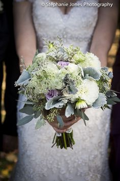 angela's pretty vintage bouquet green white sage lavender by a touch of elegance photo by Stephanie Jones Photography NJ wedding photojournalist
