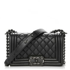 CHANEL Caviar Quilted Small Boy Flap Black ❤ liked on Polyvore featuring bags, handbags, leather shoulder bag, chanel handbags, quilted handbags, evening handbags and quilted leather handbags