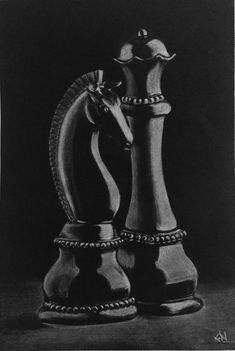 Chess Charcoal Sketch Art, Art supplied by Sne. Charcoal Paint, Charcoal Sketch, White Charcoal, Charcoal Drawings, Pencil Art Drawings, Art Drawings Sketches, Sketch Art, Drawing Faces, Manga Drawing