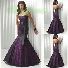 Purple Lace Wedding Dress Prom dress Brides Mermaid Gown Ball Dress Size Custom