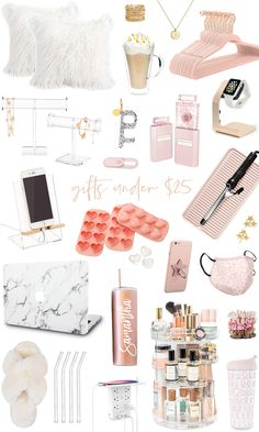 Shop the top gifts for her under $25! acrylic clear necklace holder, velvet hangers, initial pendant necklace, apple watch holder, reusable glass straws, heart ice maker, fuzzy slippers, travel mini fan, gold rings, computer camera cover, pink leopard print face mask, fizzy faux fur pillows #giftsforher #giftsunder25 #stockingstuffer #founditonamazon #amazonmusthaves #amazonfashion #amazonwishlist #giftsforsister