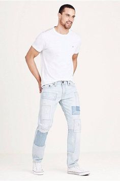 NWT~True Religion~Geno Super T~Patched Indigo~Distressed~32x34~$399 #TrueReligion #Relaxed
