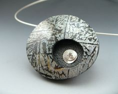 Contemporary polymer clay pendant necklace by Stonehouse Studio